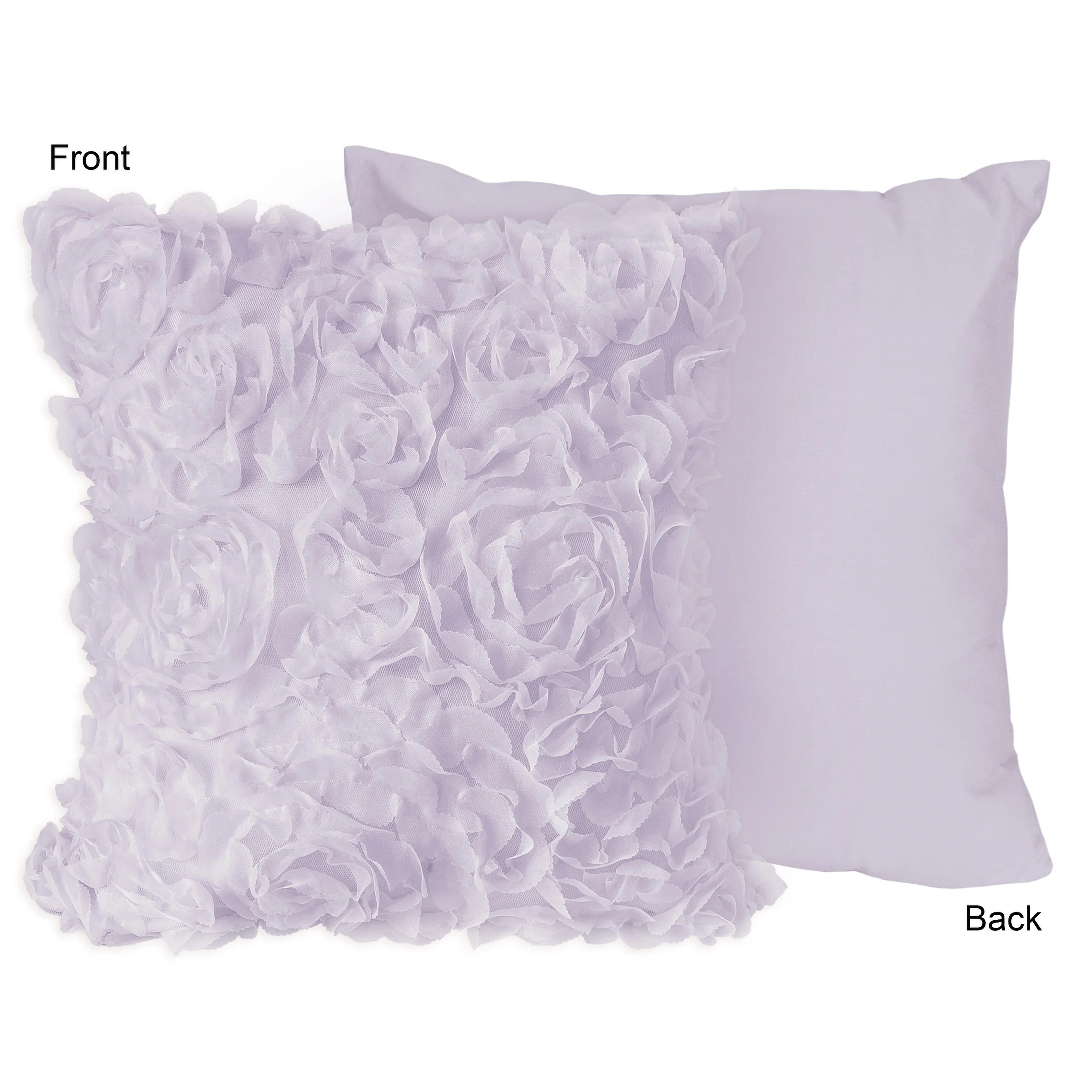 purple floral rose 18in decorative accent throw pillows set of 2 lavender flower luxurious elegant princess boho shabby chic