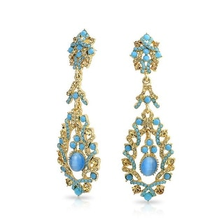 Bling Jewelry Gold Plated Alloy Imitation Cats Eye Crystal Chandelier Earrings Blue