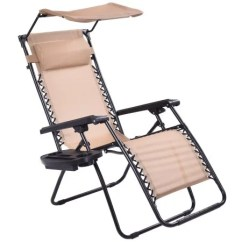 Chair With Shade Canopy Outdoor Stackable Chairs Shop Costway Beige Folding Recliner Zero Gravity Lounge Cup Holder Free Shipping Today Overstock Com 16733353