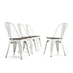 Industrial Bistro Chairs Cherry Dining Shop Belleze Modern Restaurant Cafe Set Of 4 Wood Seat Stackable Metal Stool