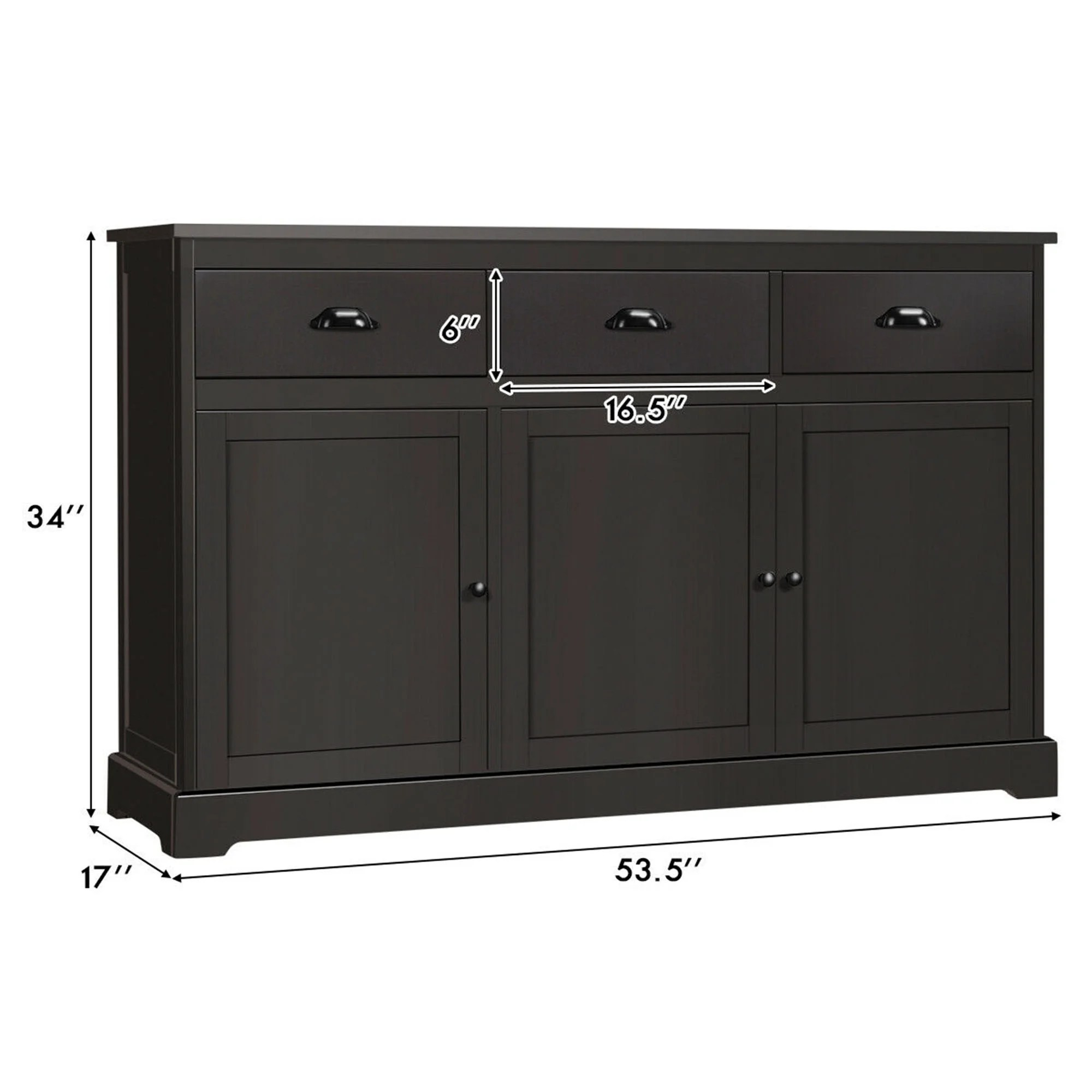 Shop Gymax 3 Drawers Sideboard Buffet Cabinet Console Table Kitchen Storage Overstock 32343691