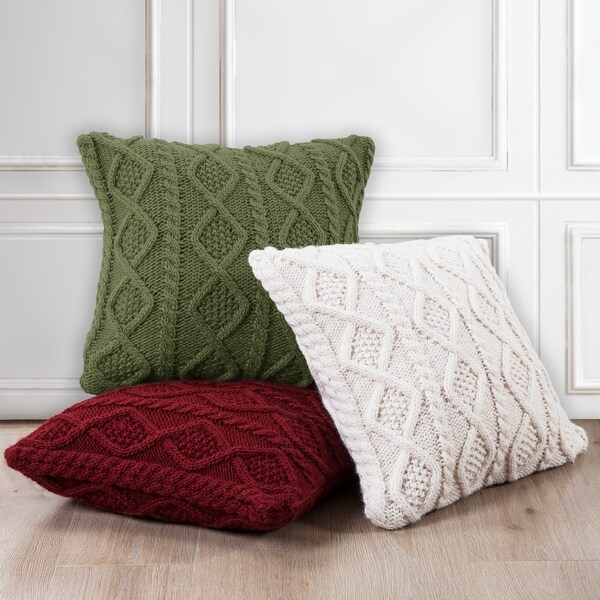 hiend accents cable knit euro sham 26x26 cream