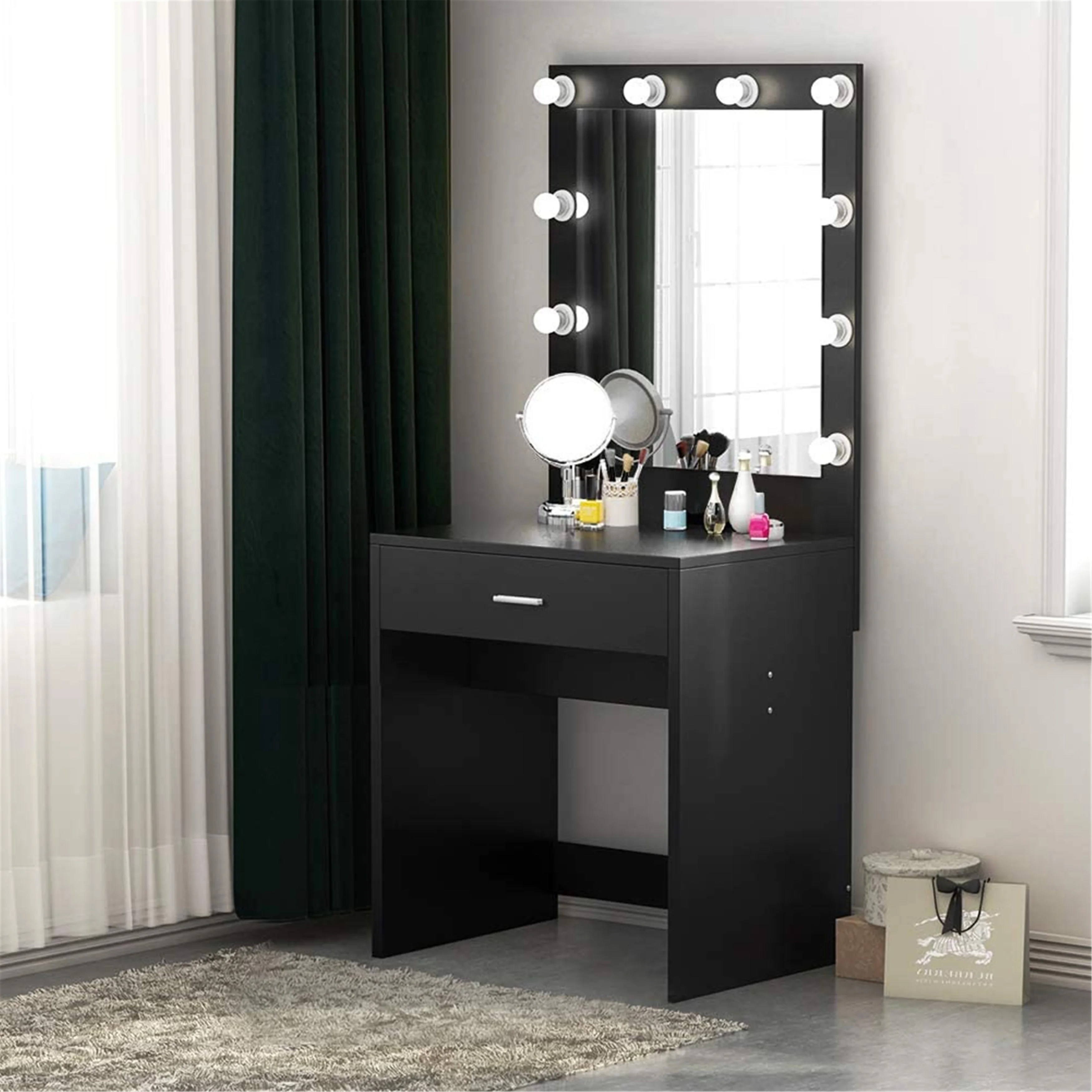 makeup vanity with lighted mirror dressing table dresser desk for bedroom stool not included