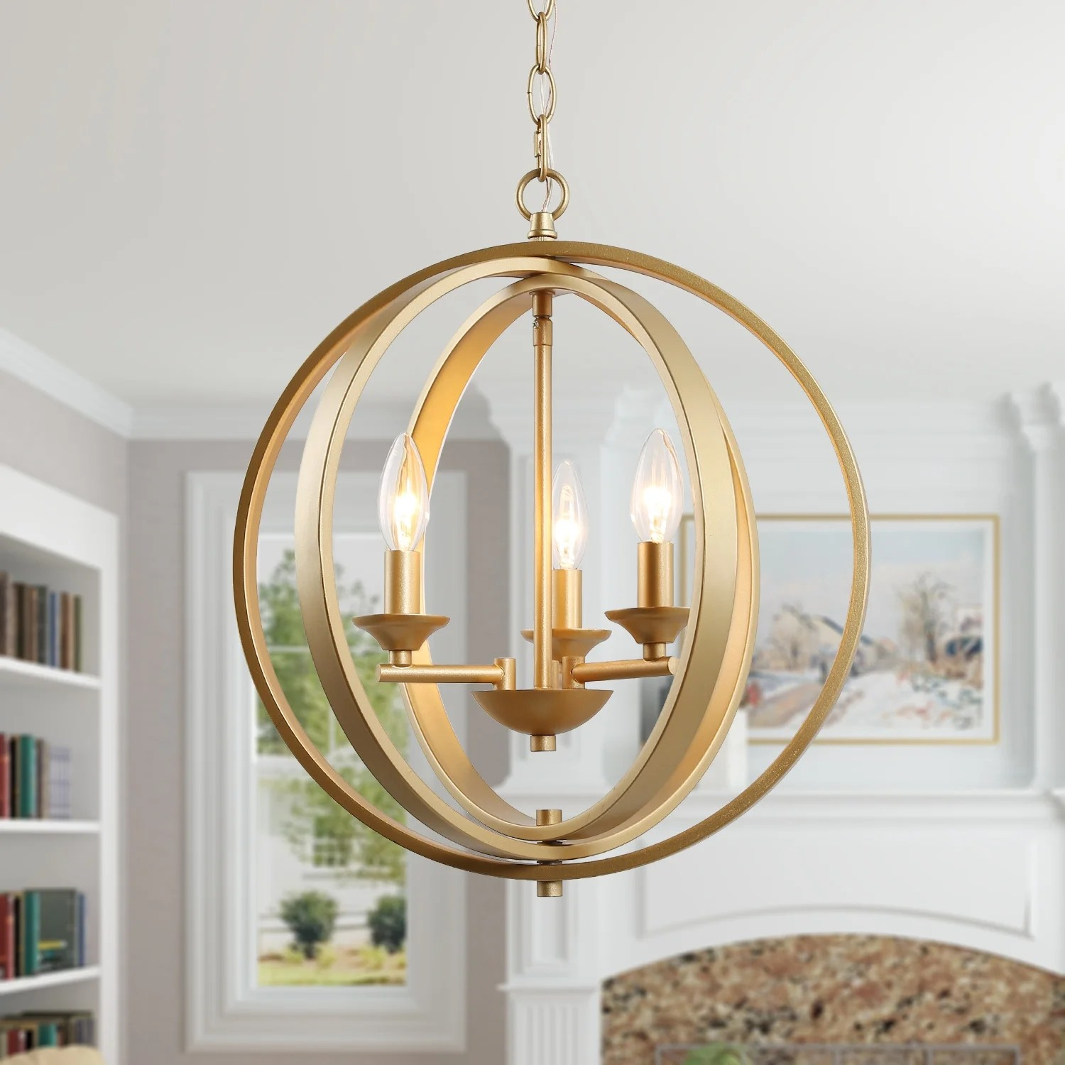 Shop Glam Gold Chandelier With 3 Lights Ceiling Hanging Pendant Lighting For Kitchen Island W15 5 X H18 W15 5 X H18 Overstock 29396797