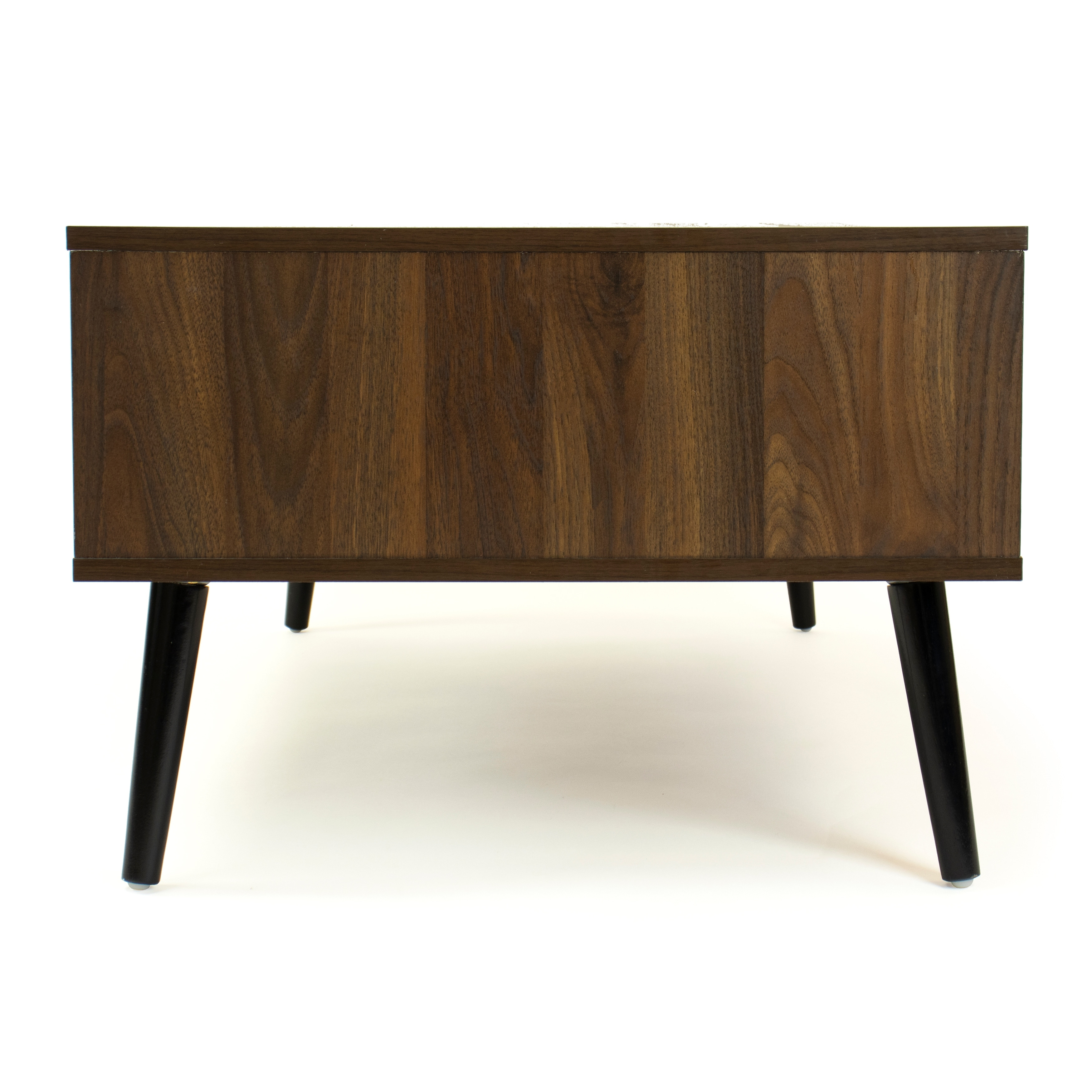 humble crew low mid century coffee table with open shelf and drawer storage dark wood black 54 x 84