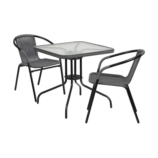 2 chairs and table rattan ergonomic chair for home office shop offex 28 square glass metal with gray edging stack free shipping today overstock com 17816792