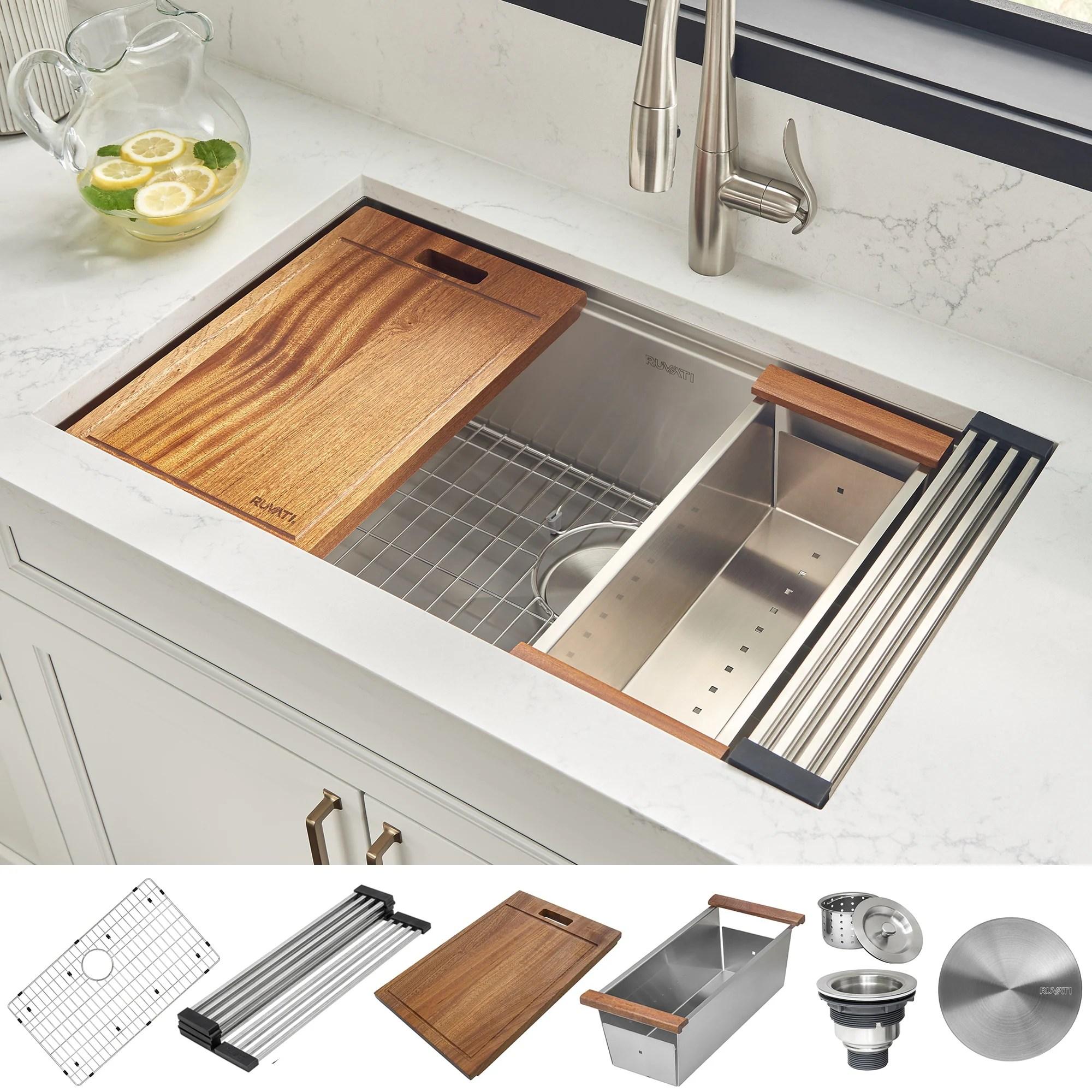 ruvati 28 inch workstation ledge undermount 16 gauge stainless steel kitchen sink single bowl rvh8309 26 1 2 x 16