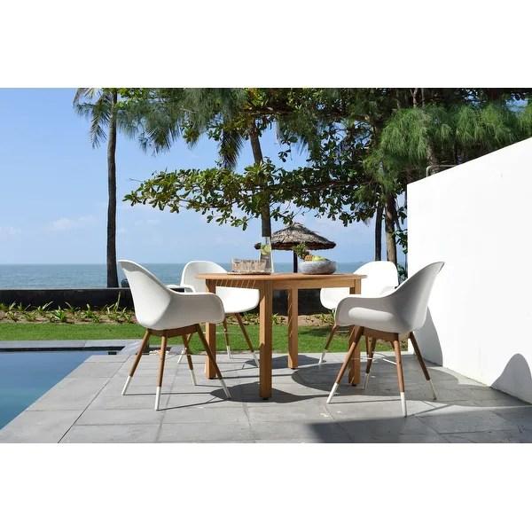 Lifestyle Garden 5 Piece Round Outdoor Wood Dining Set Brown