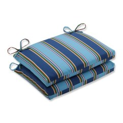 Wicker Chair Cushions With Ties Where To Buy Dining Chairs Shop Set Of 2 Blue Awning Stripe Outdoor Patio Seat 18 5 Green Free Shipping Today Overstock Com 16606284
