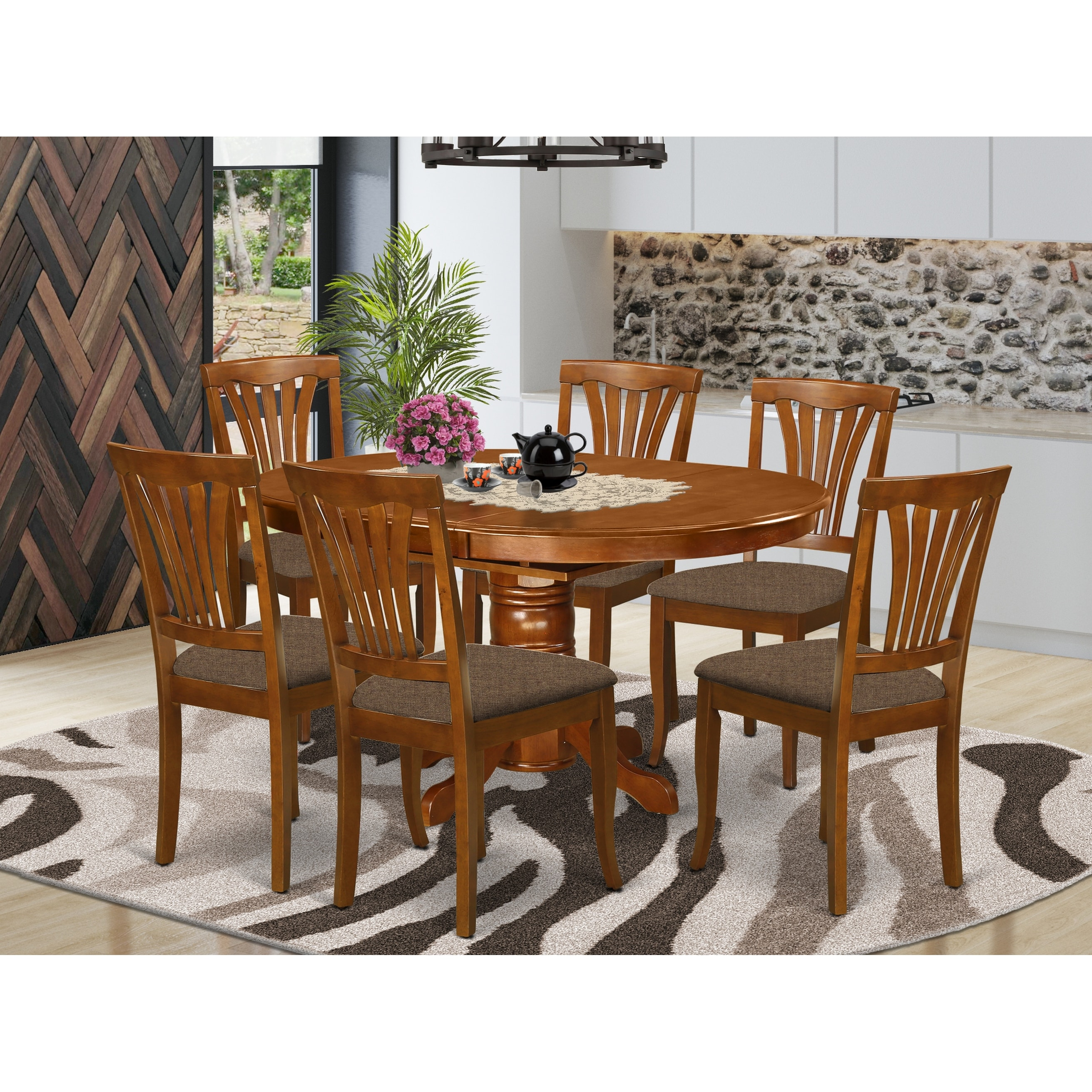 Shop 7 Piece Oval Dining Room Table With Leaf And 6 Dining Chairs Overstock 10296404 Wood Seat