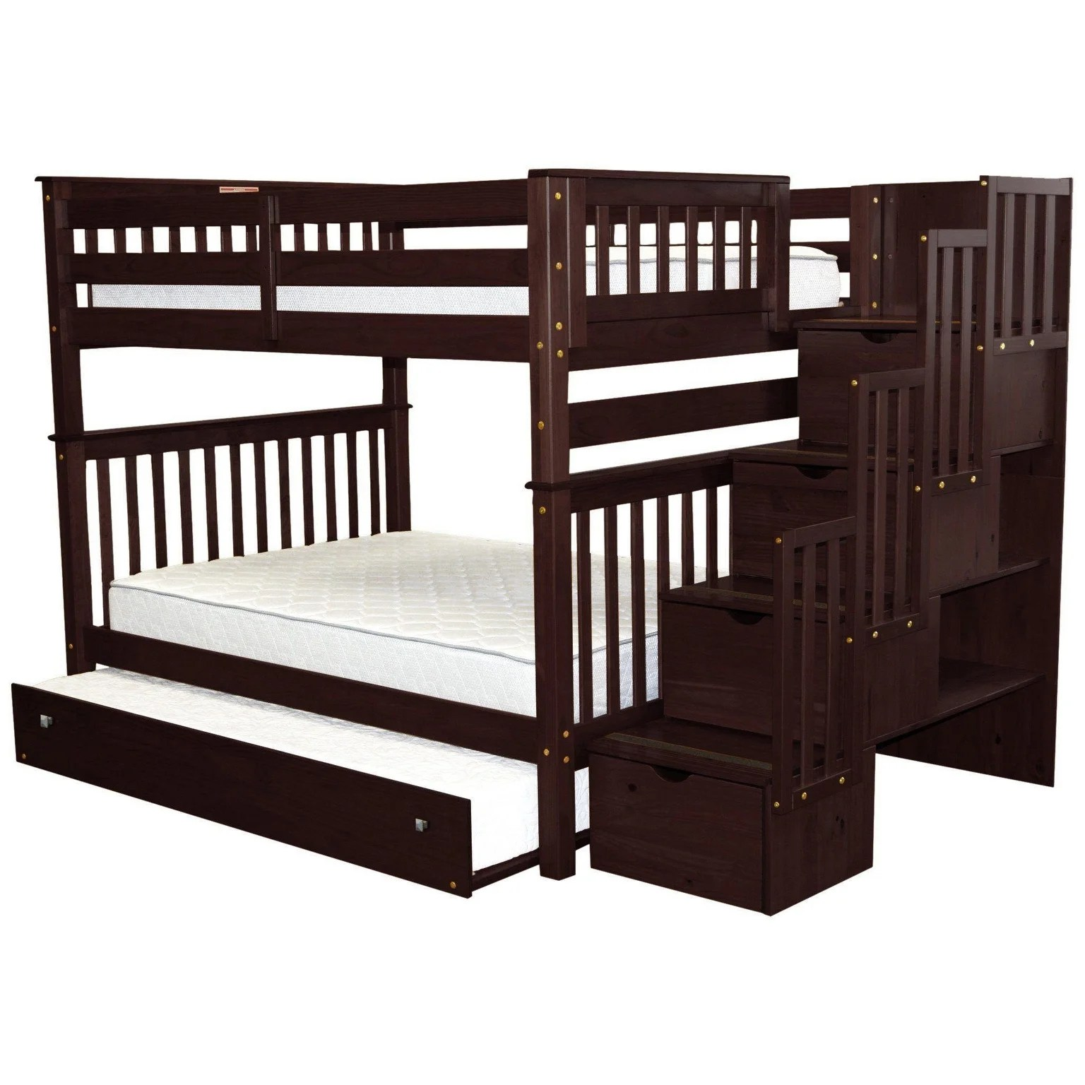 Bedz King Stairway Bunk Beds Full Over Full With 4 Drawers In The Steps And A Full Trundle Cappuccino Overstock 22087646