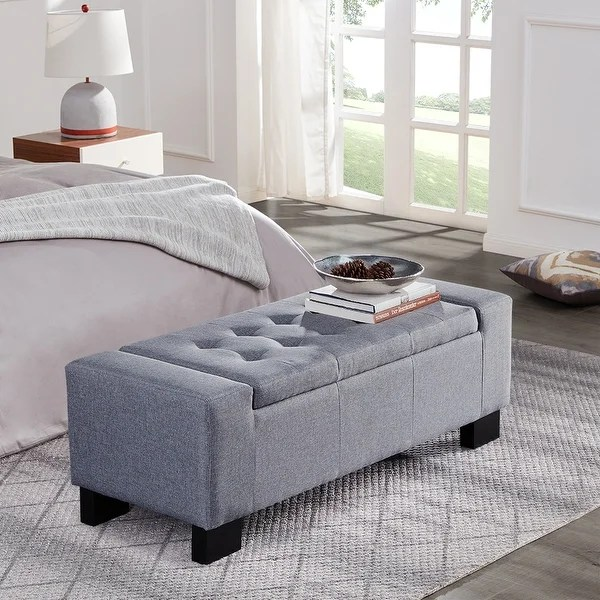 belleze 51 rectangular tufted storage