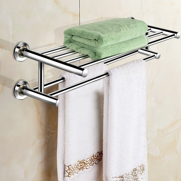 Shop Costway Wall Mounted Towel Rack Bathroom Hotel Rail Holder Storage On Sale Overstock 18522334