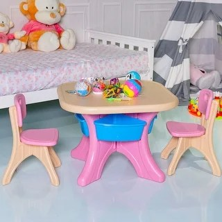 plastic kids table and chairs leather sofa chair shop gymax children set 3 pc play furniture free shipping today overstock com 25484138