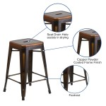 Annjoe 24 Low Back Swivel Bar Stools Distressed White Metal Barstools Counter Height Stools With Wooden Seat Set Of 4 Furniture Home Bar Furniture