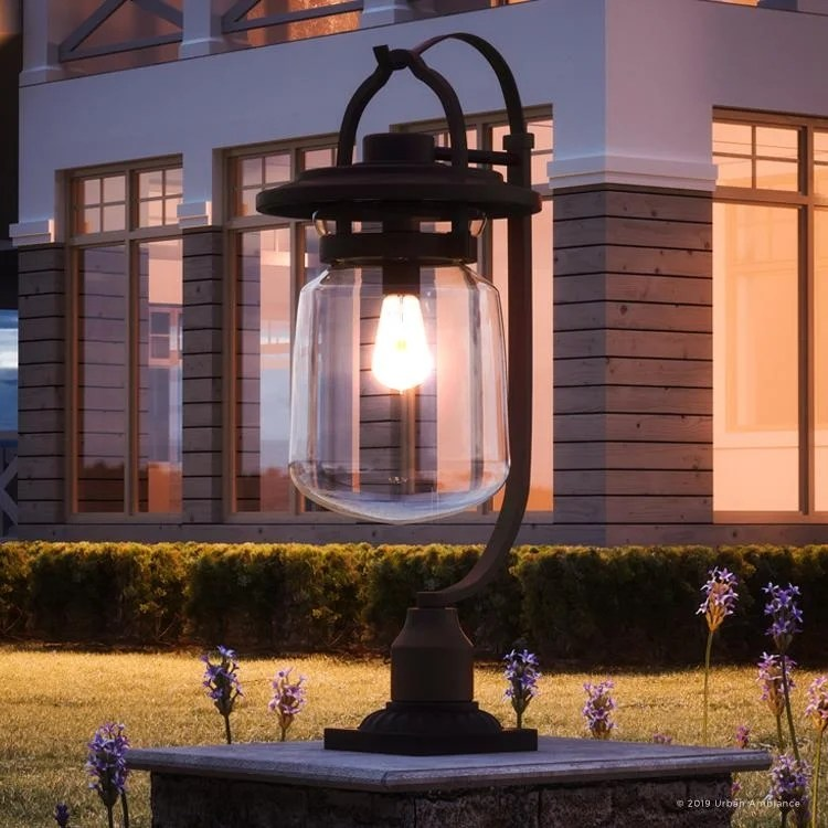 luxury industial outdoor post pier light 26 5 h x 11 w with farmhouse style estate bronze finish by urban ambiance