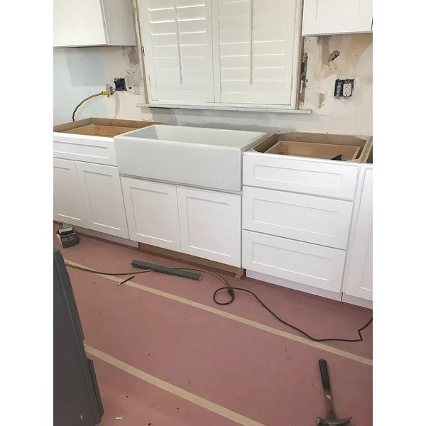 36 inch kitchen sink american standard white faucet shop highpoint collection single bowl rectangle fireclay farmhouse free shipping today overstock com 10363453