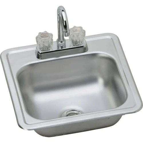 elkay kitchen sinks lowes outdoor island shop kp211515c kingsford 15 single basin drop in stainless steel sink with bar