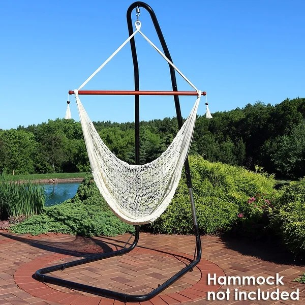 wicker hammock chair accent with wooden arms shop sunnydaze adjustable heavy duty stand steel