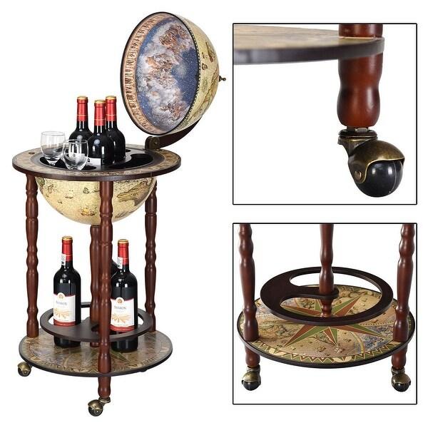 italian style globe wooden liquor wine