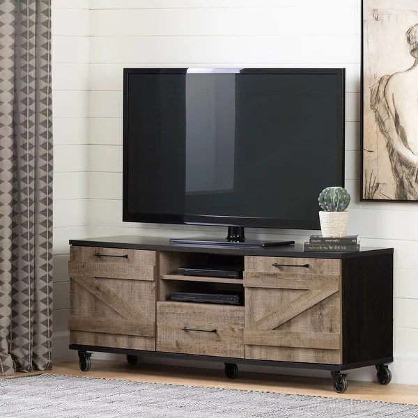 Shop Valet Modern Industrial Living Room Tv Stand With Storage On Wheels 65 Inch Overstock 22080709