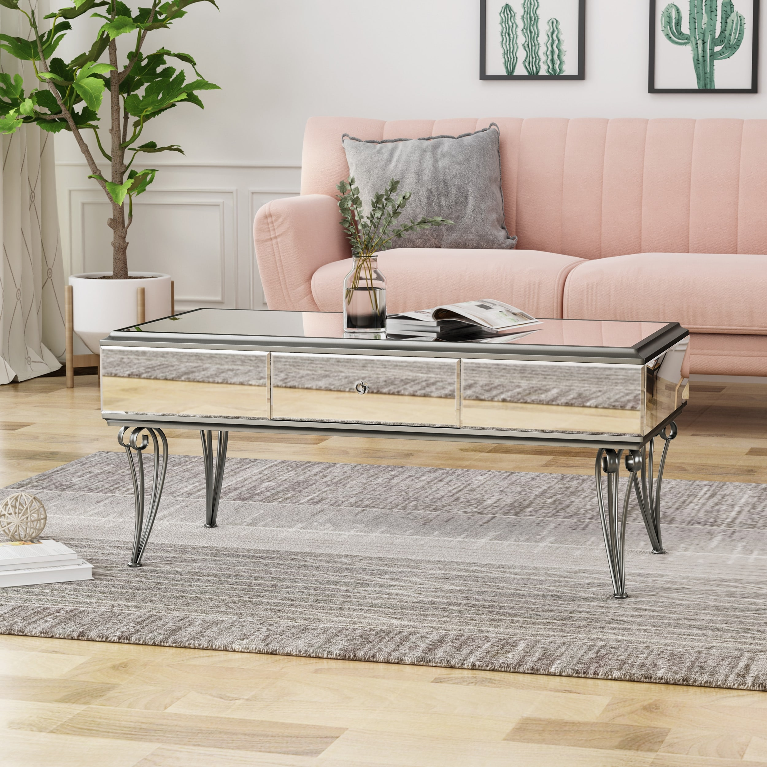 https www overstock com home garden belvidere modern tempered glass mirrored coffee table with drawer by christopher knight home 24115201 product html