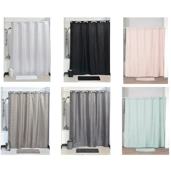 evideco hookless cubic shower curtain w