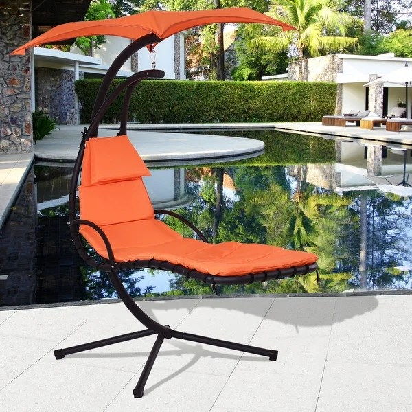 hammock chair with canopy incline gym shop costway hanging chaise lounge arc stand air porch swing orange