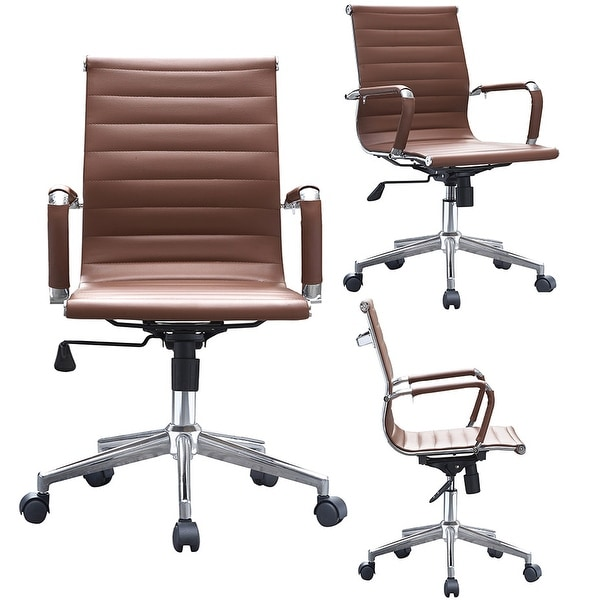 brown computer chair desk nyc shop mid century office wheels ergonomic executive pu leather arm rest tilt adjustable height swivel task