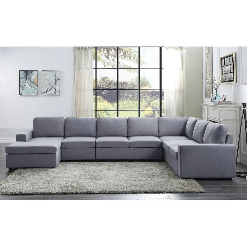 tifton light gray linen 7 seat reversible modular sectional sofa chaise