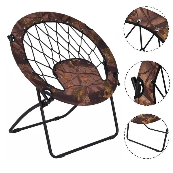 bungee chair weight limit ergonomic history shop costway folding round steel frame outdoor camping hiking garden patio as pic