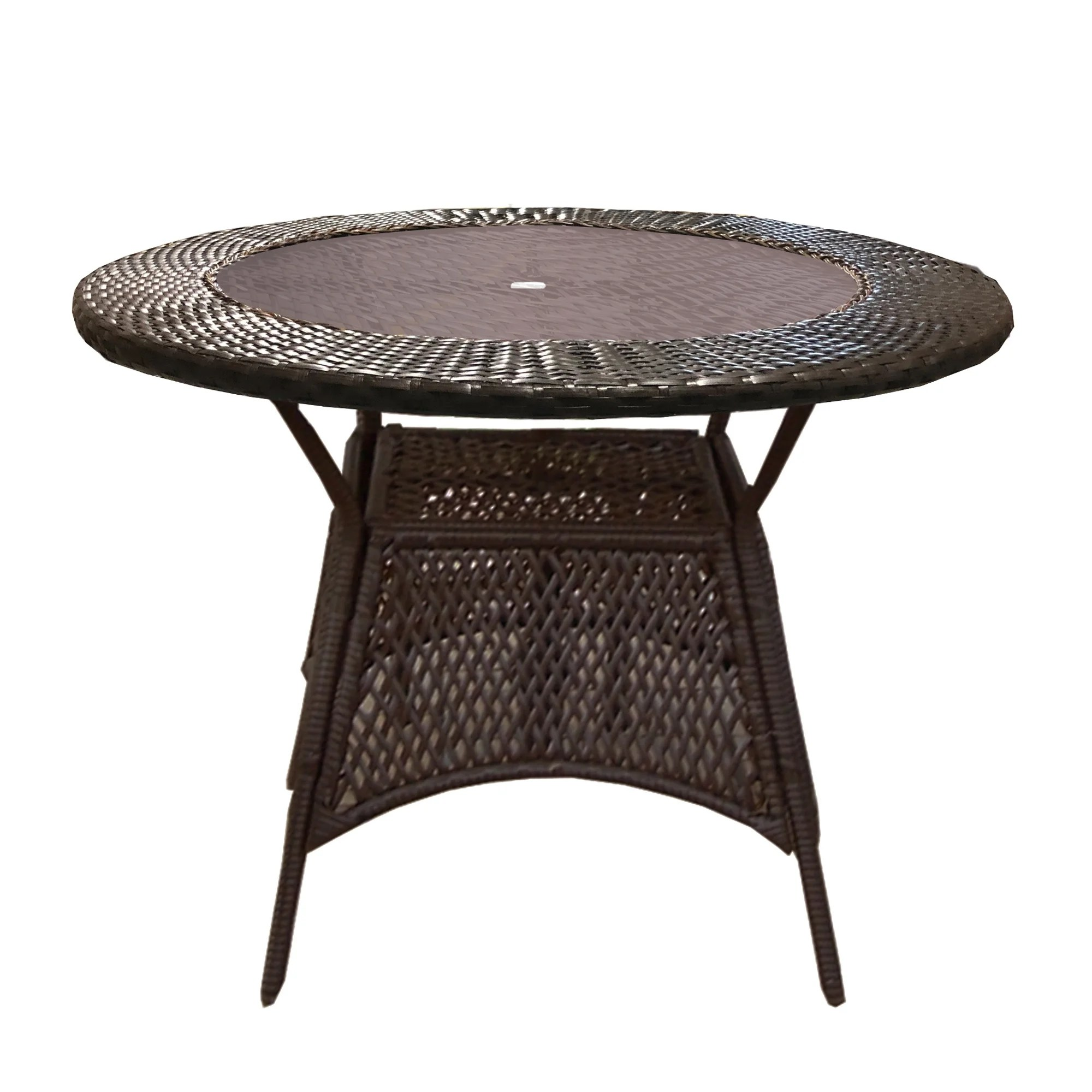 round brown wicker outdoor patio glass table