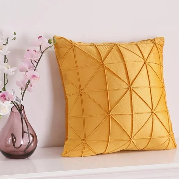 velvet decorative pleated throw pillow