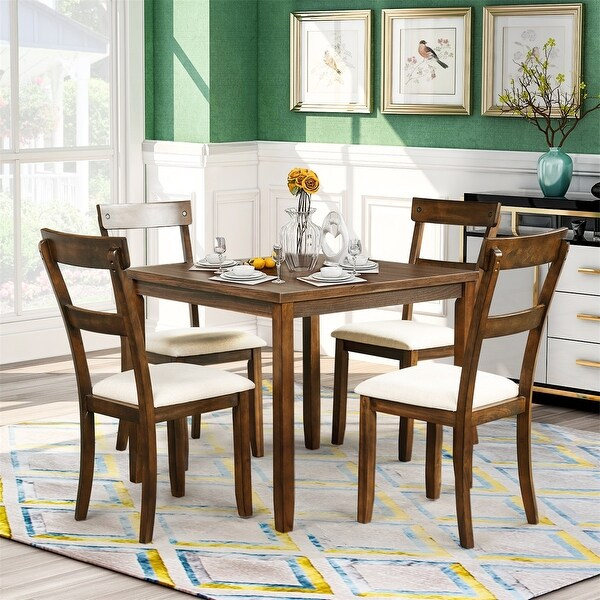 Shop Merax 5 Piece Dining Set Industrial Wooden Kitchen Table And 4 Chairs For Dining Room On Sale Overstock 31428094 American Walnut