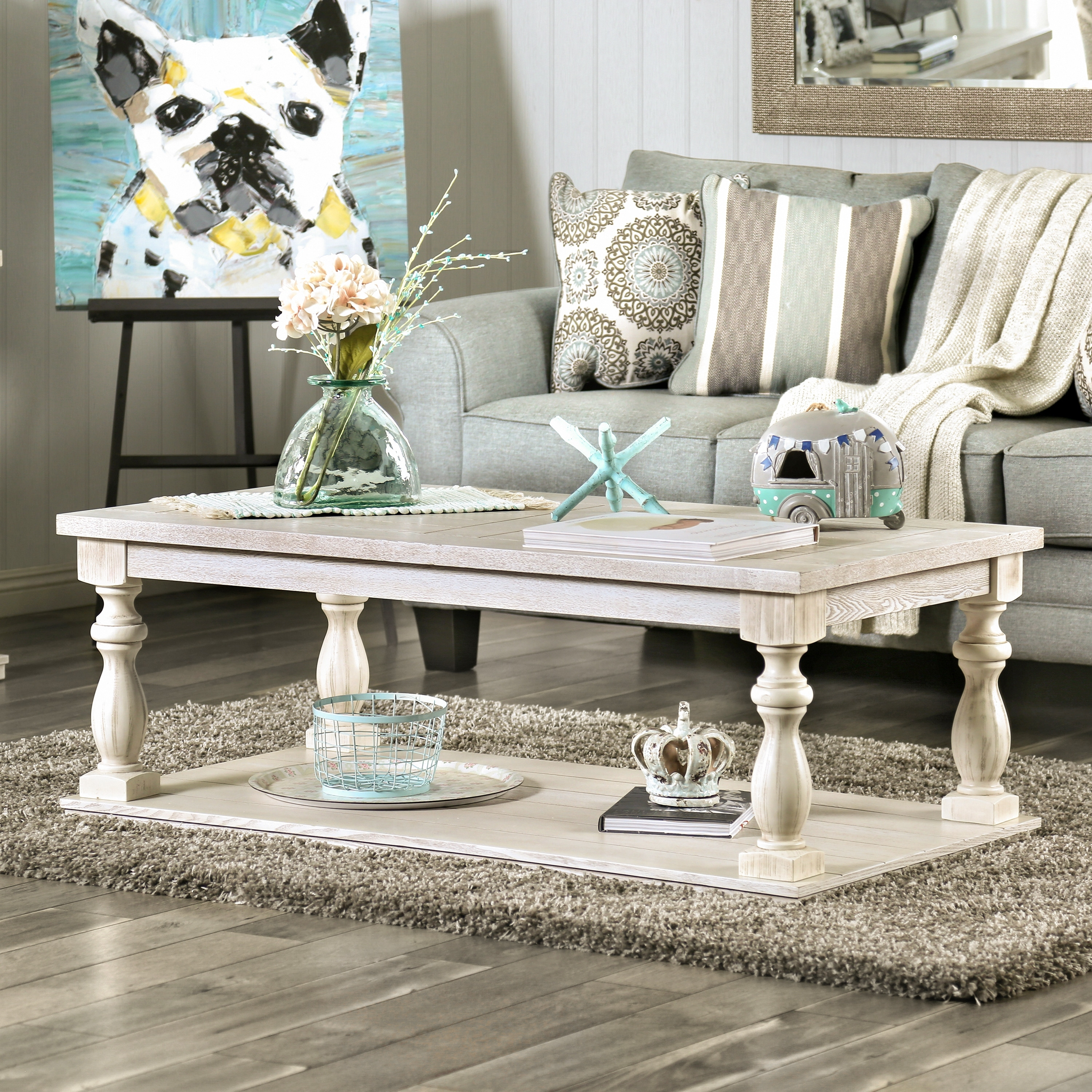 furniture of america tost rustic white solid wood 1 shelf coffee table