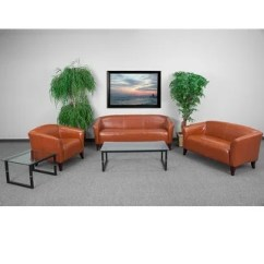 Commercial Sofas And Chairs Skirted Dining Room Brown For Less Overstock Radisson 3pcs Office Leather Sofa Sets Cognac Wood Ft