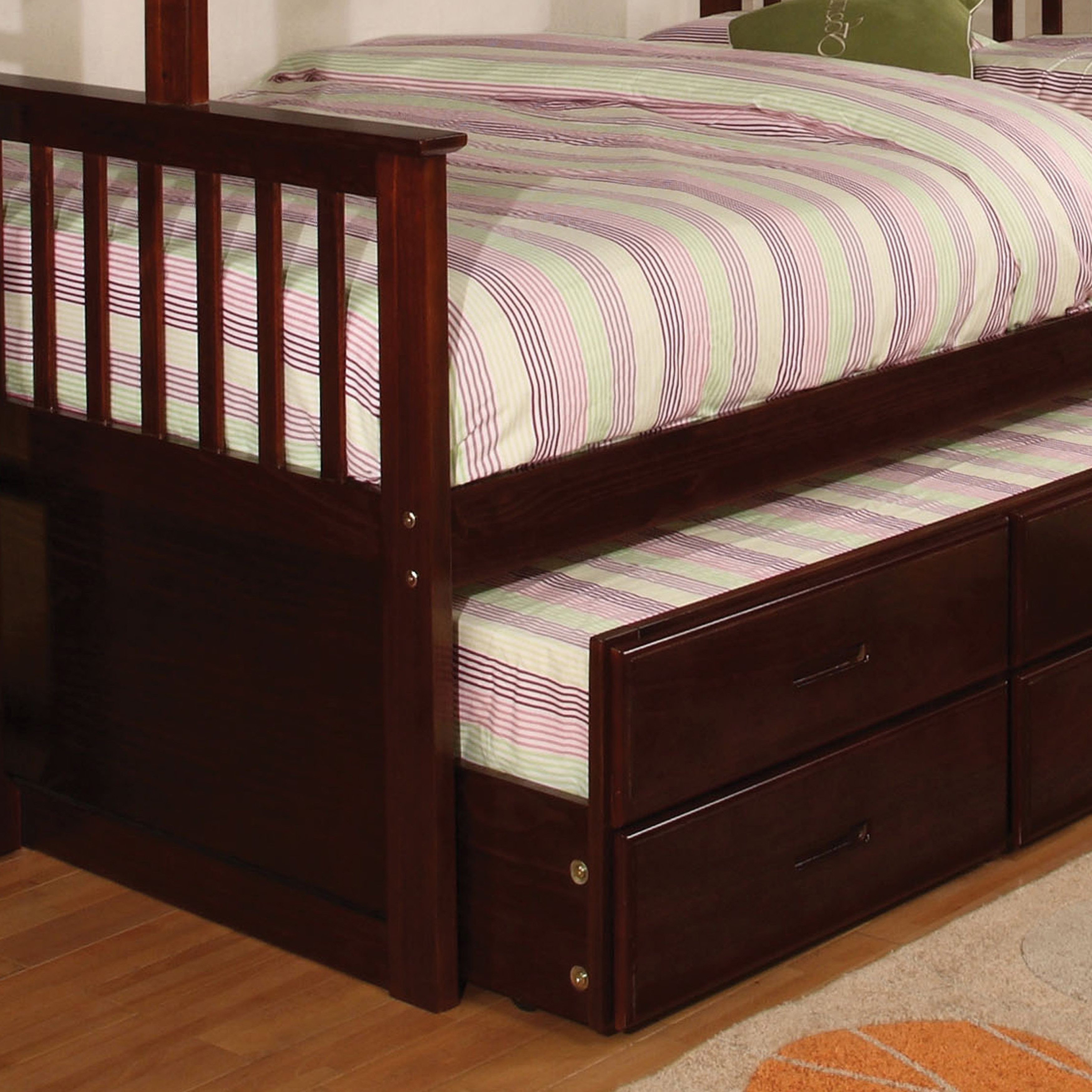 Furniture Of America Rola Mission Twin Xl Queen Bunk Bed With Trundle Overstock 10302777