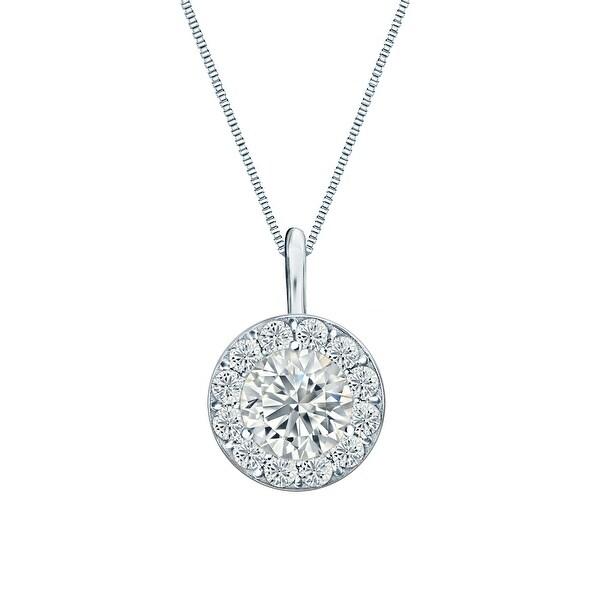 Shop Round 1/2ctw Halo Lab Grown Diamond Necklace 14k Gold