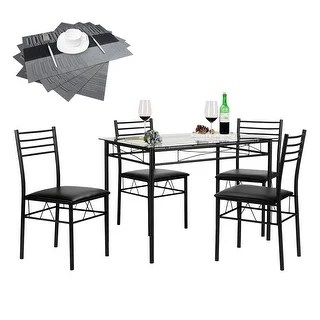 black dining table and chairs ikea kitchen buy room sets online at overstock com our quick view