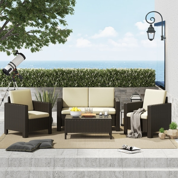 https www overstock com home garden corvus burgundy 4 piece outdoor wicker chat set with cushions 31296246 product html