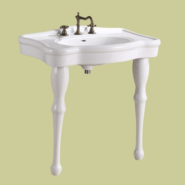bathroom console sink white china two