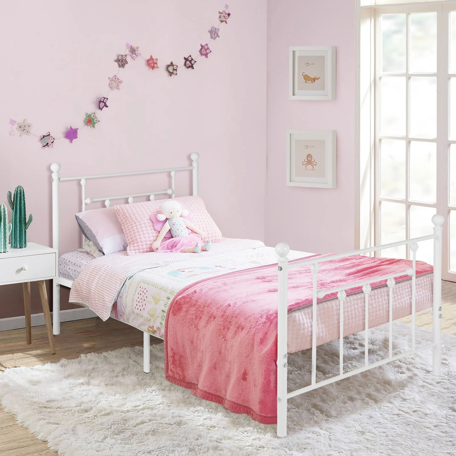 Vecelo Vintage Line Metal Bed Frame White Twin Full Queen Size 3 Opotion On Sale Overstock 29875431
