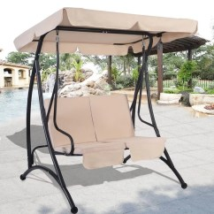 Swing Chair Seat Pride Mobility Chairs Shop Costway Beige 2 Person Canopy Patio Hammock Cushioned Furniture Steel