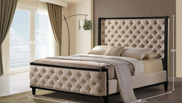 Shop Black Friday Deals On Arcadia Tufted Linen Upholstered Bed Frame With Padded Headboard King Overstock 31843789