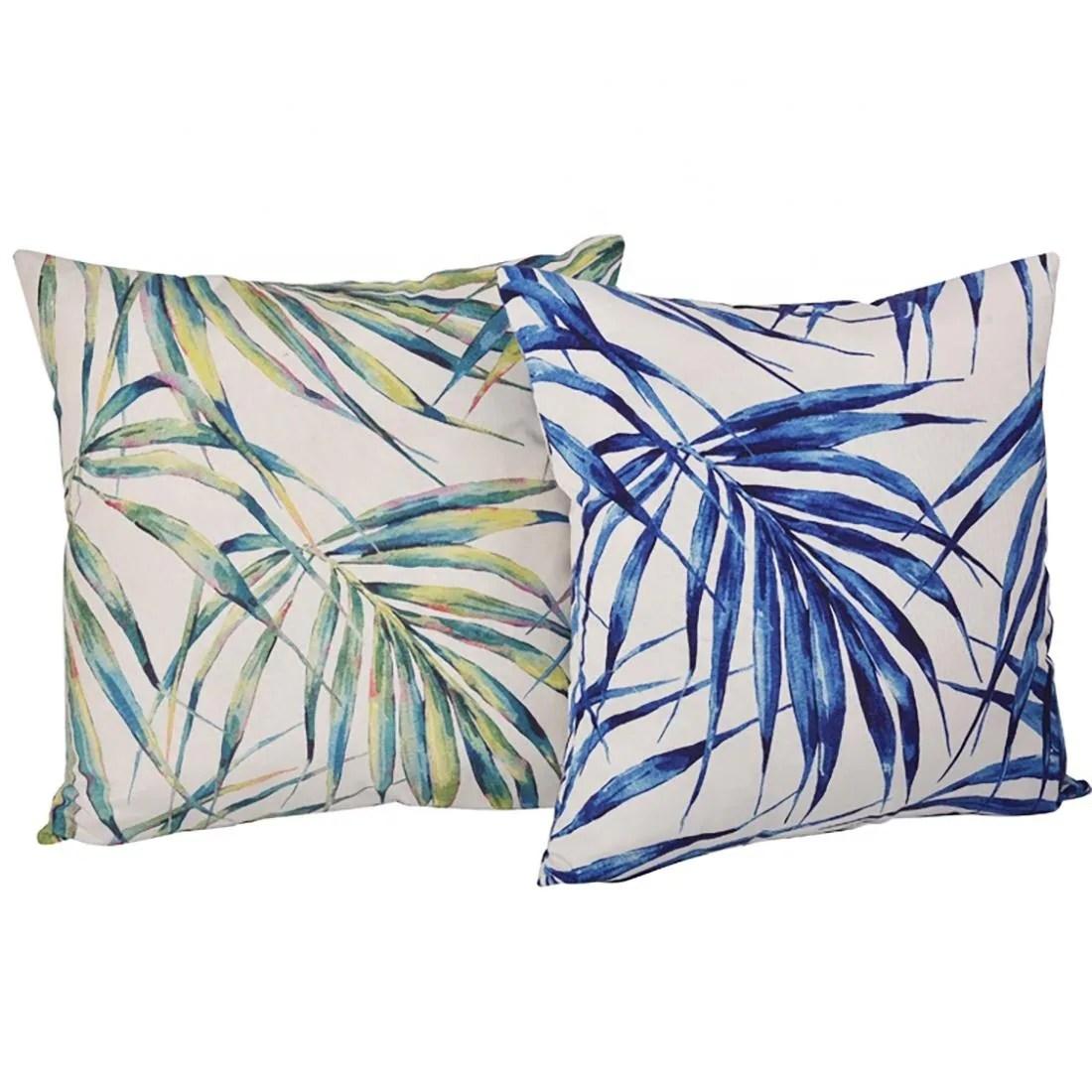 elegant design tropical leaves waterproof indoor outdoor decorative pillow cover 18 x 18
