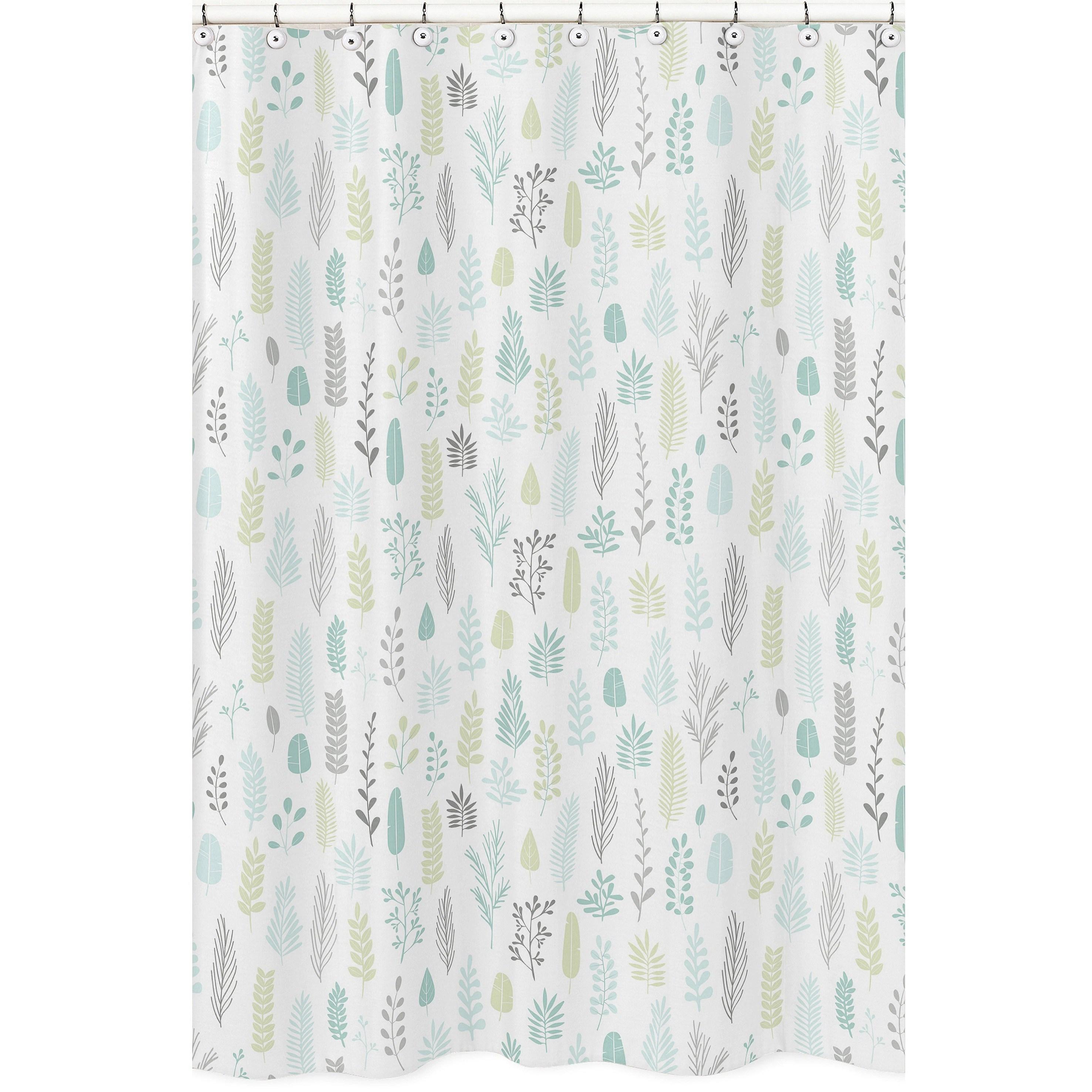 sweet jojo designs blue grey tropical leaf bathroom fabric bath shower curtain turquoise gray green rainforest jungle sloth