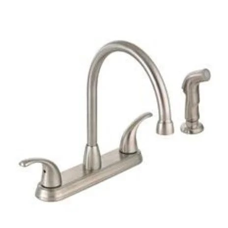 brushed nickel kitchen faucet with sprayer best stores shop mintcraft 67387 1104 hi rise spray 2 handle