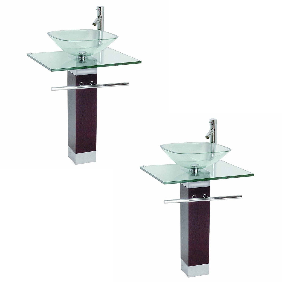 tempered glass pedestal sink chrome faucet towel bar drain pack of 2 clear 1