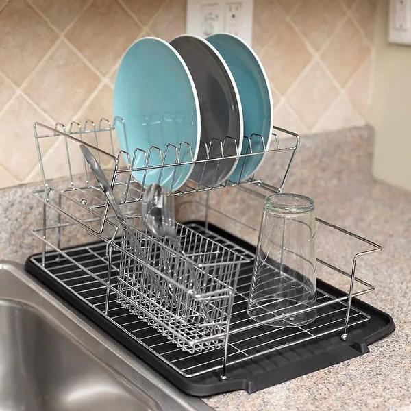 2 tier kitchen sink dish drainer set