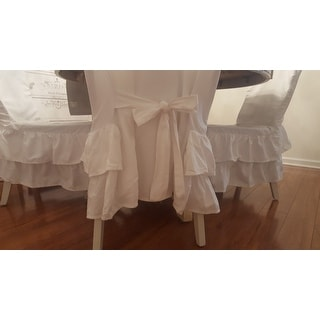 Shop Cotton Tiered Ruffled Dining Chair Slipcover Free